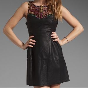Free People Revolve Leather Embroidered Dress